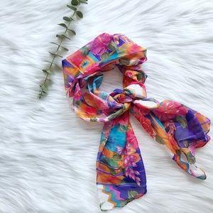 Linen Floral Print Scarf